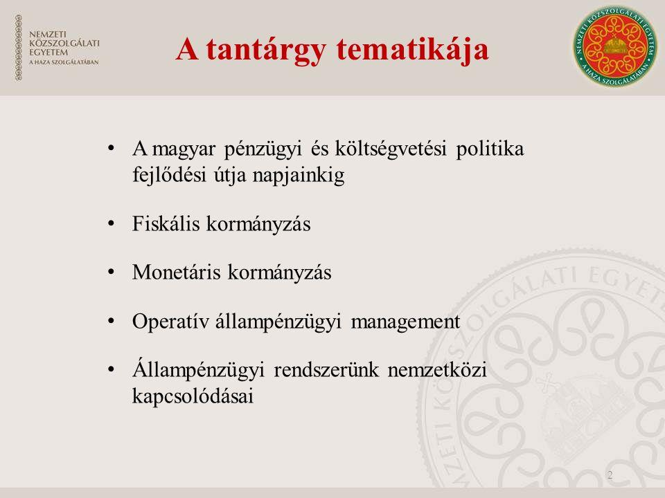 A tantárgy tematikája A magyar pénzügyi és költségvetési politika fejlődési útja napjainkig Fiskális kormányzás Monetáris kormányzás Operatív állampénzügyi management Állampénzügyi rendszerünk nemzetközi kapcsolódásai 2