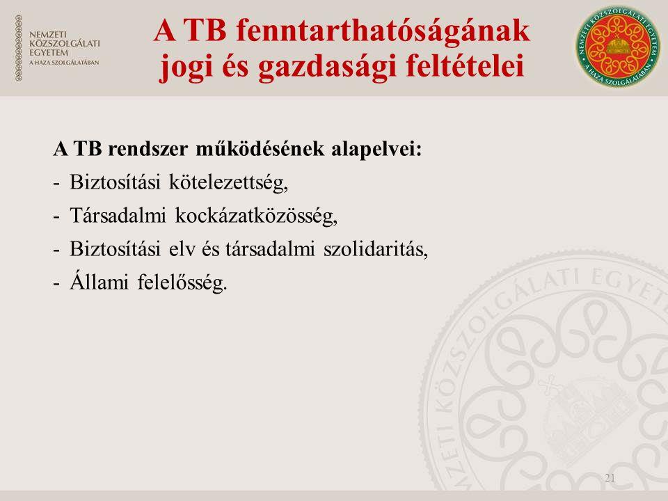 A TB fenntarthatóságának jogi és gazdasági feltételei A TB rendszer működésének alapelvei: -Biztosítási kötelezettség, -Társadalmi kockázatközösség, -Biztosítási elv és társadalmi szolidaritás, -Állami felelősség.