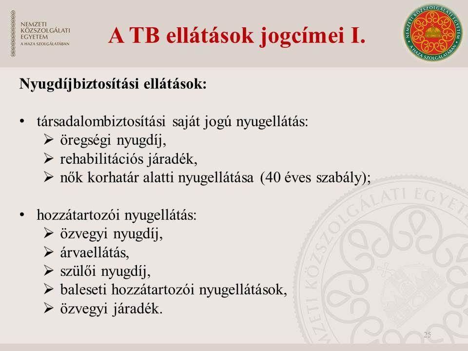 A TB ellátások jogcímei I.