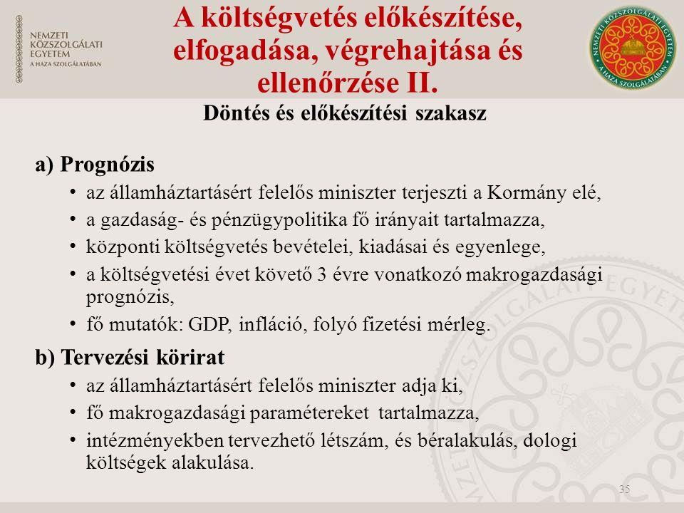 A költségvetés előkészítése, elfogadása, végrehajtása és ellenőrzése II.
