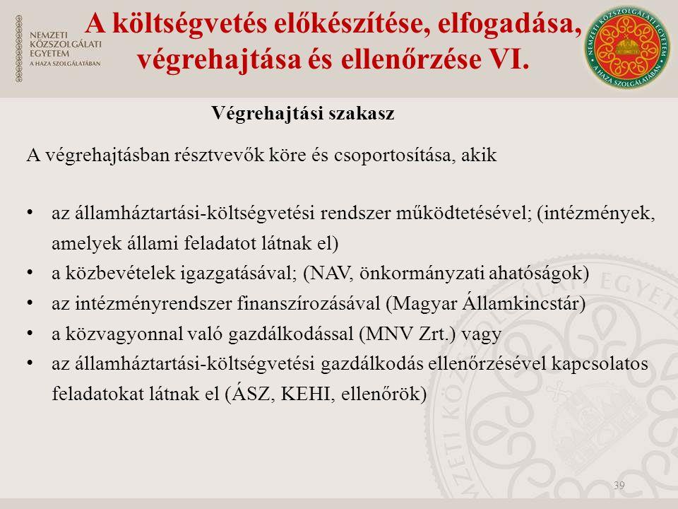 A költségvetés előkészítése, elfogadása, végrehajtása és ellenőrzése VI.