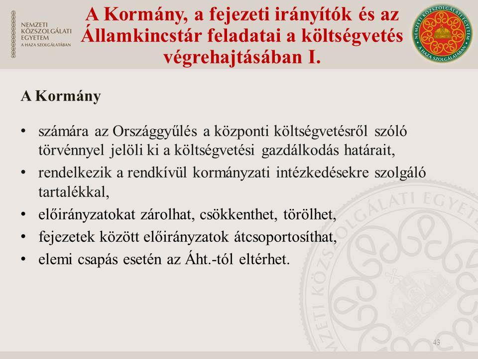 A Kormány, a fejezeti irányítók és az Államkincstár feladatai a költségvetés végrehajtásában I.