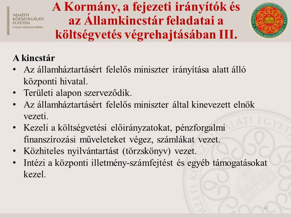 A Kormány, a fejezeti irányítók és az Államkincstár feladatai a költségvetés végrehajtásában III.