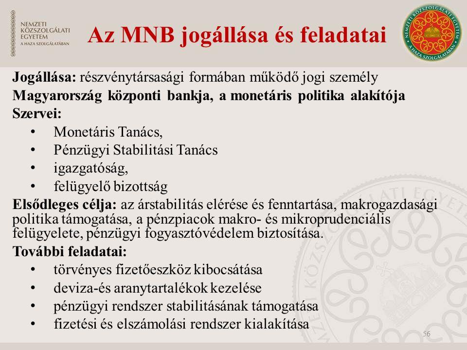 Az MNB jogállása és feladatai Jogállása: részvénytársasági formában működő jogi személy Magyarország központi bankja, a monetáris politika alakítója Szervei: Monetáris Tanács, Pénzügyi Stabilitási Tanács igazgatóság, felügyelő bizottság Elsődleges célja: az árstabilitás elérése és fenntartása, makrogazdasági politika támogatása, a pénzpiacok makro- és mikroprudenciális felügyelete, pénzügyi fogyasztóvédelem biztosítása.