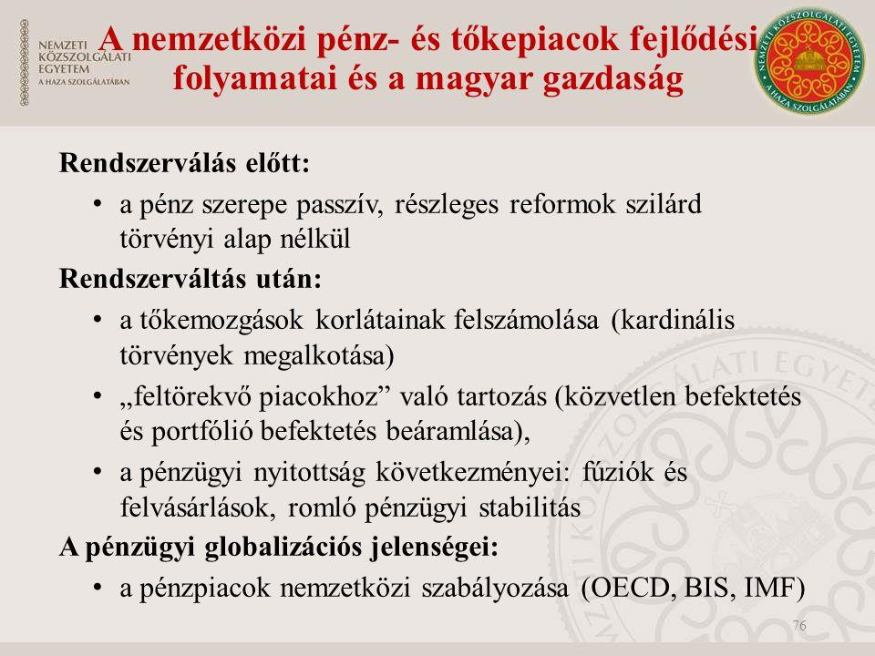 """A nemzetközi pénz- és tőkepiacok fejlődési folyamatai és a magyar gazdaság Rendszerválás előtt: a pénz szerepe passzív, részleges reformok szilárd törvényi alap nélkül Rendszerváltás után: a tőkemozgások korlátainak felszámolása (kardinális törvények megalkotása) """"feltörekvő piacokhoz való tartozás (közvetlen befektetés és portfólió befektetés beáramlása), a pénzügyi nyitottság következményei: fúziók és felvásárlások, romló pénzügyi stabilitás A pénzügyi globalizációs jelenségei: a pénzpiacok nemzetközi szabályozása (OECD, BIS, IMF) 76"""