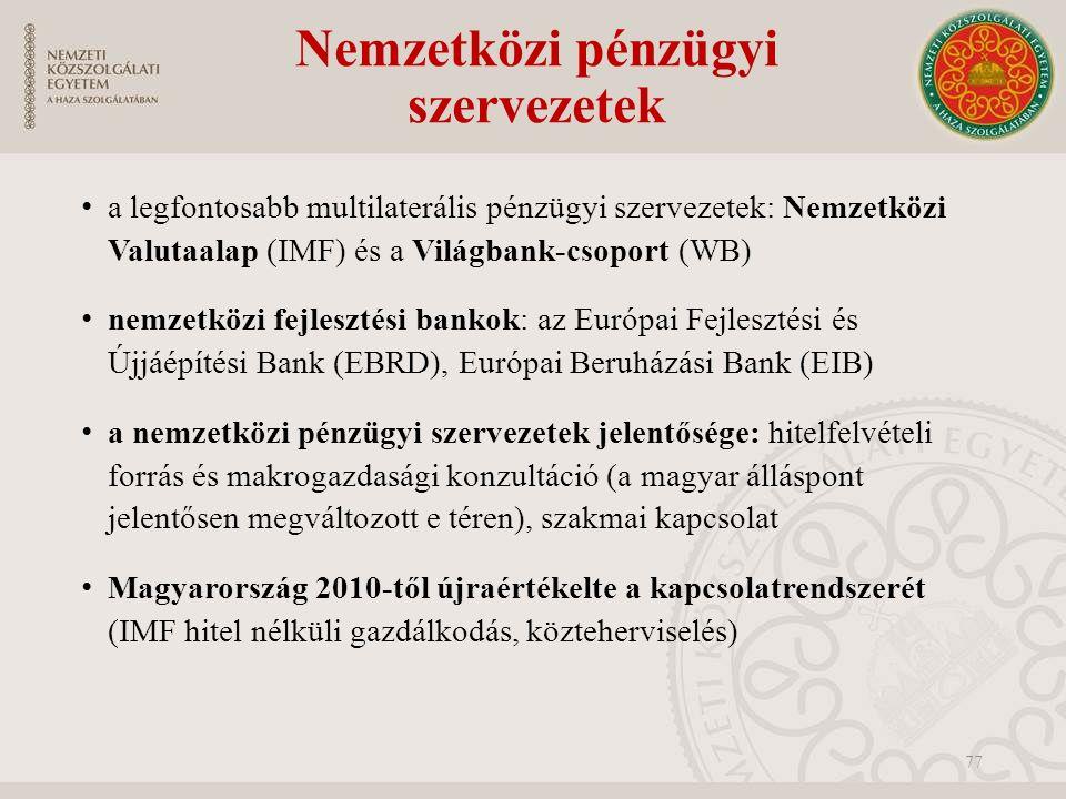 Nemzetközi pénzügyi szervezetek a legfontosabb multilaterális pénzügyi szervezetek: Nemzetközi Valutaalap (IMF) és a Világbank-csoport (WB) nemzetközi fejlesztési bankok: az Európai Fejlesztési és Újjáépítési Bank (EBRD), Európai Beruházási Bank (EIB) a nemzetközi pénzügyi szervezetek jelentősége: hitelfelvételi forrás és makrogazdasági konzultáció (a magyar álláspont jelentősen megváltozott e téren), szakmai kapcsolat Magyarország 2010-től újraértékelte a kapcsolatrendszerét (IMF hitel nélküli gazdálkodás, közteherviselés) 77