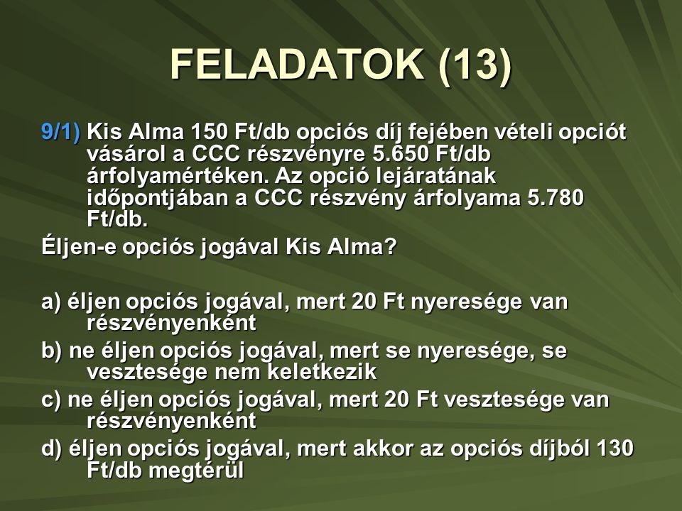 9/2) Nagy Virág 150 Ft/db opciós díj fejében eladási opciót vásárol a DDD részvényre 5.780 Ft/db árfolyamértéken.