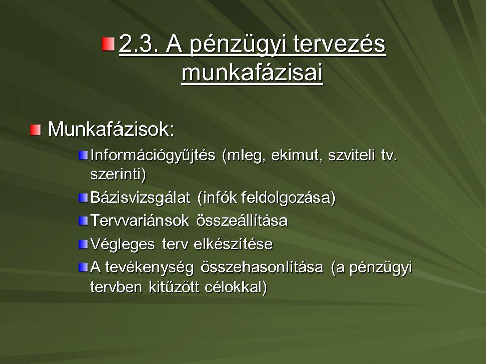 2.4.A pénzügyi elemzés A pénzügyi elemzés a pénzügyi tervezés alapja.