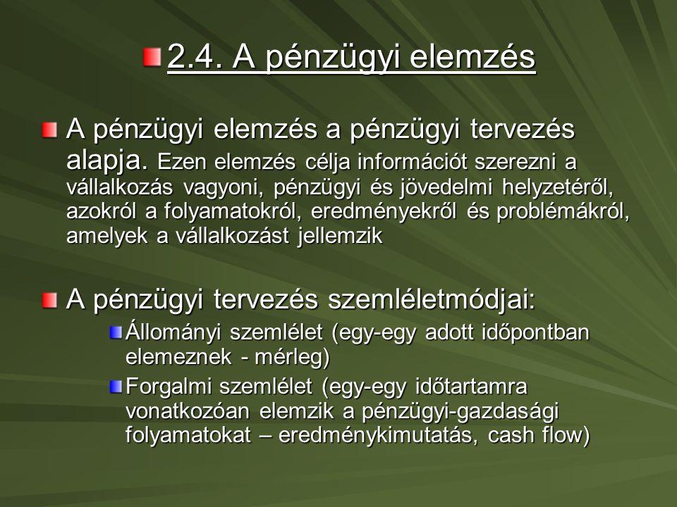 2.5.A pénzügyi tervek (tervezés) fajtái 2.5.1.