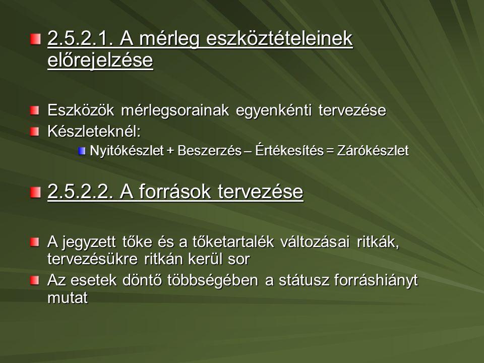 2.5.3.Dinamikus finanszírozási tervezés 2.5.3.1.