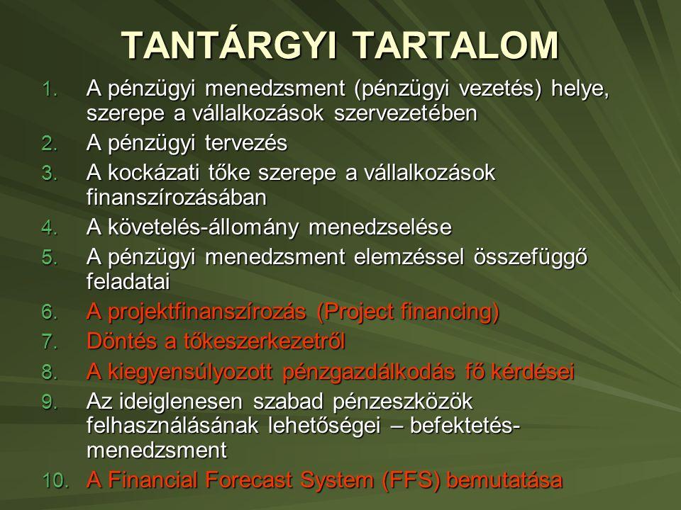 TANTÁRGYI TARTALOM 1.