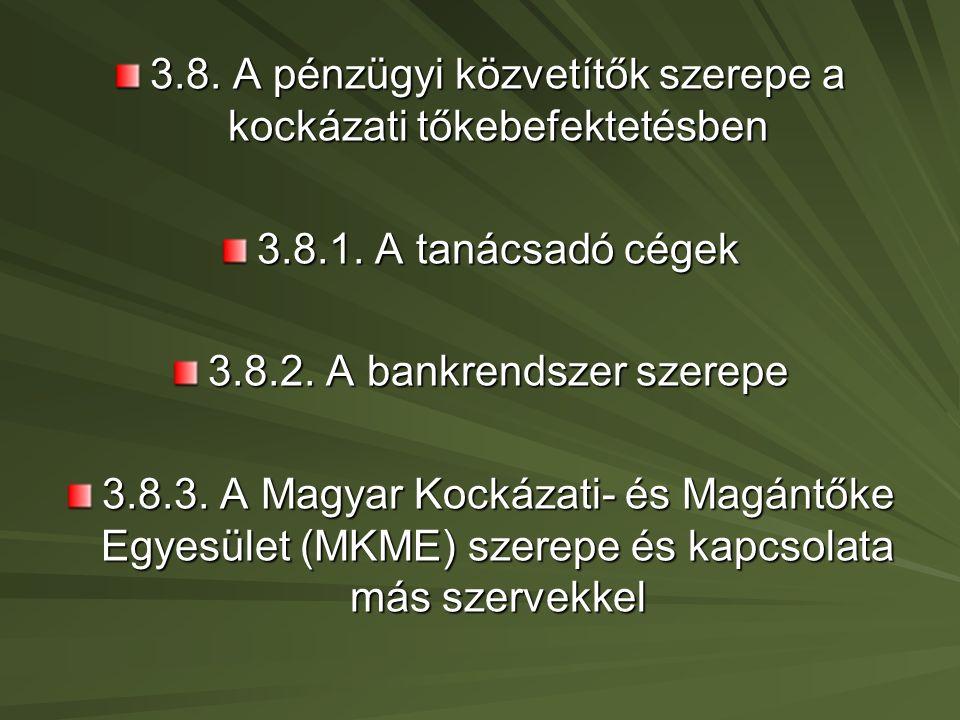 3.8. A pénzügyi közvetítők szerepe a kockázati tőkebefektetésben 3.8.1.