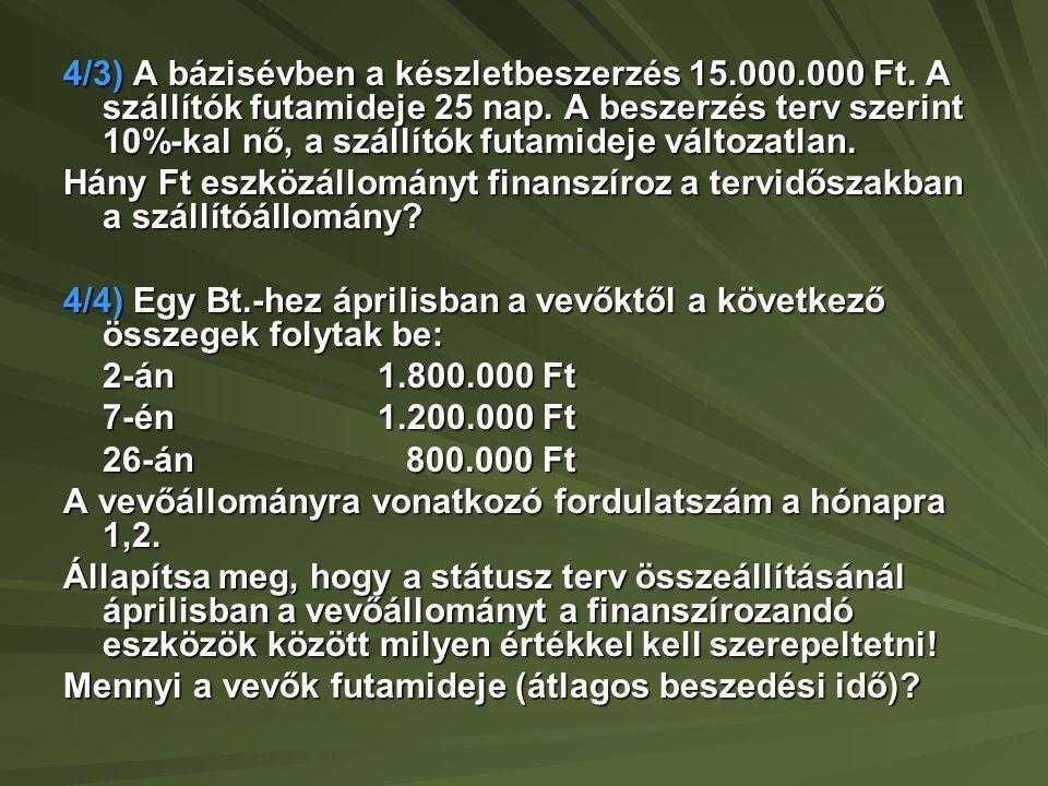 4/5) Egy gazdasági társaság 10.000.000 Ft értékben árut szállított vevőjének.