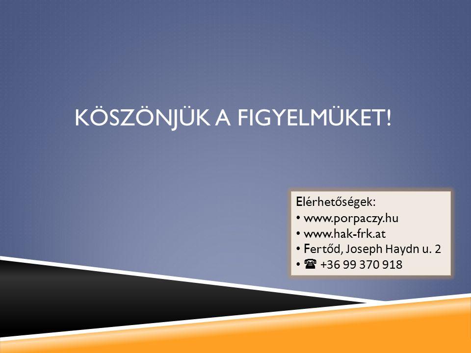 KÖSZÖNJÜK A FIGYELMÜKET! Elérhet őségek: www.porpaczy.hu www.hak-frk.at Fert őd, Joseph Haydn u. 2  +36 99 370 918