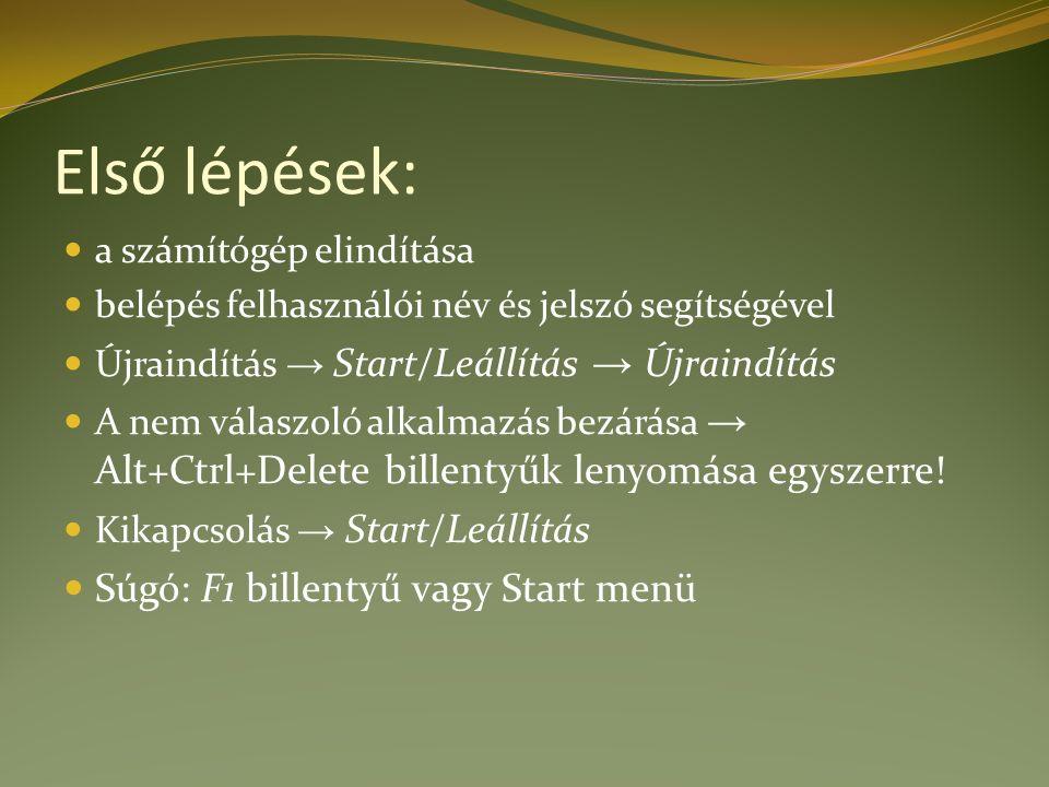 Első lépések: a számítógép elindítása belépés felhasználói név és jelszó segítségével Újraindítás → Start/Leállítás → Újraindítás A nem válaszoló alka