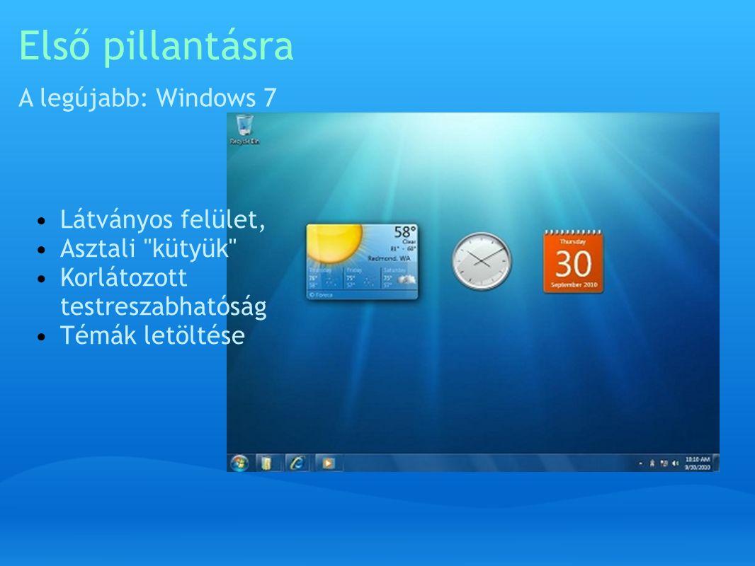 Első pillantásra A legújabb: Windows 7 Látványos felület, Asztali kütyük Korlátozott testreszabhatóság Témák letöltése