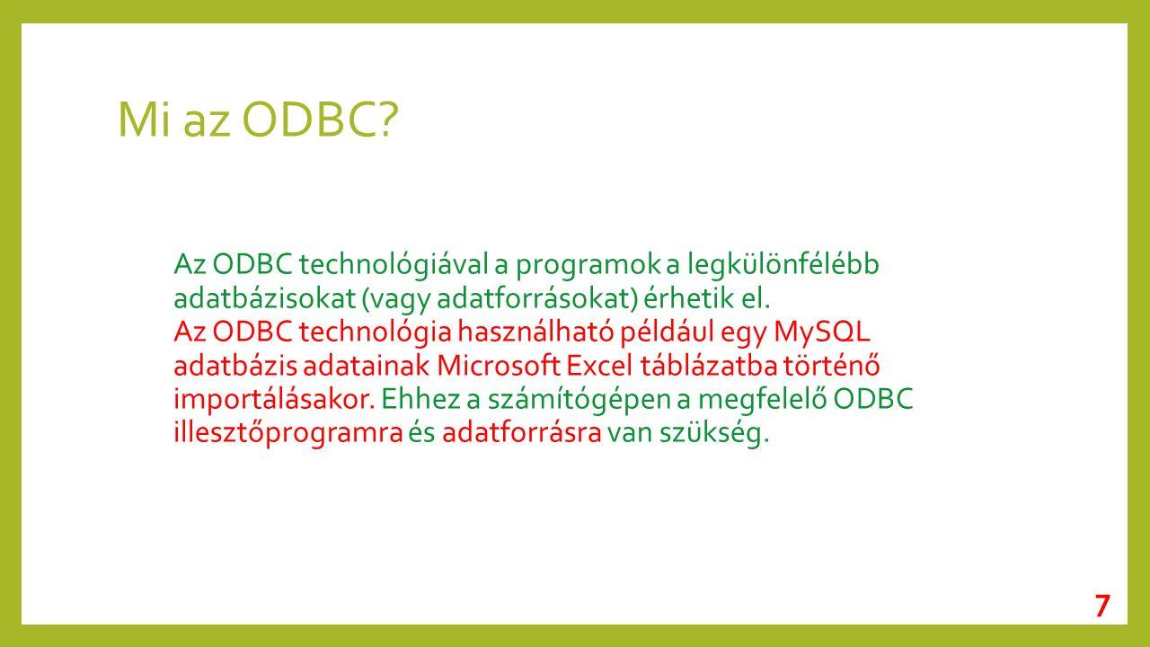 Mi az ODBC.