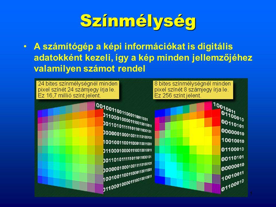 4 Pixelgrafika Jellemzői: Alapegysége és a felbontás egysége a képpont vagy PIXEL; a képek külön tárolt képpontokból épülnek fel; minden képpont tulajdonságait numerikus értékek határozzák meg (színmélység); korlátlan színhasználat; a pixelméret csak bizonyos határok között módosítható; képméret változáskor minőségromlás; a képeknek nagy a helyigénye;