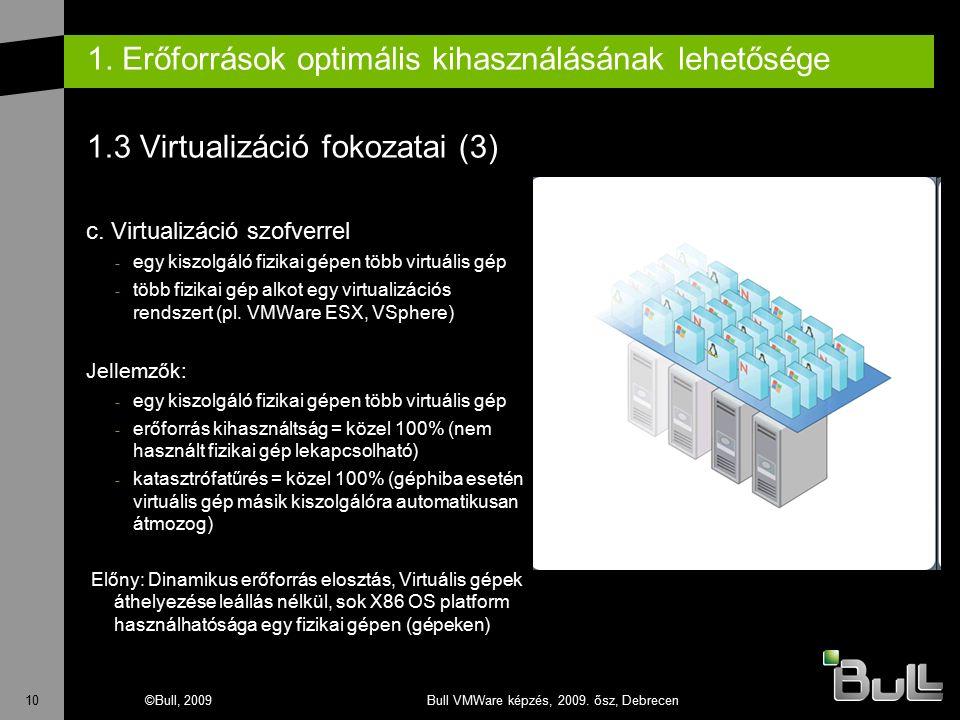 10©Bull, 2009Bull VMWare képzés, 2009. ősz, Debrecen 1. Erőforrások optimális kihasználásának lehetősége 1.3 Virtualizáció fokozatai (3) c. Virtualizá