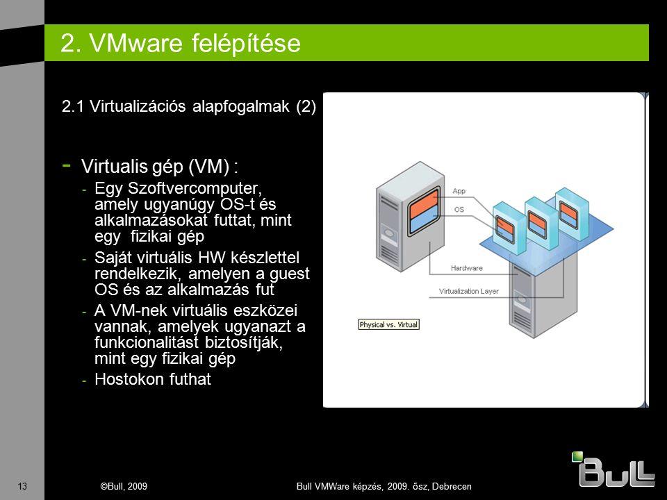 13©Bull, 2009Bull VMWare képzés, 2009. ősz, Debrecen 2. VMware felépítése - Virtualis gép (VM) : - Egy Szoftvercomputer, amely ugyanúgy OS-t és alkalm