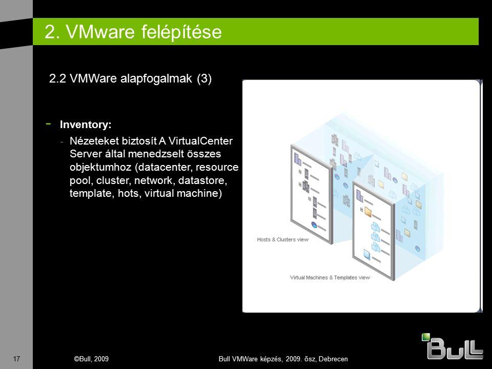 17©Bull, 2009Bull VMWare képzés, 2009. ősz, Debrecen 2. VMware felépítése - Inventory: - Nézeteket biztosít A VirtualCenter Server által menedzselt ös