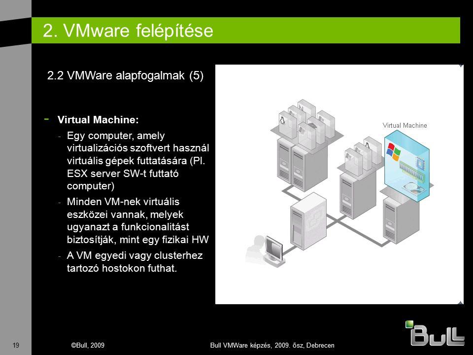 19©Bull, 2009Bull VMWare képzés, 2009. ősz, Debrecen 2. VMware felépítése - Virtual Machine: - Egy computer, amely virtualizációs szoftvert használ vi