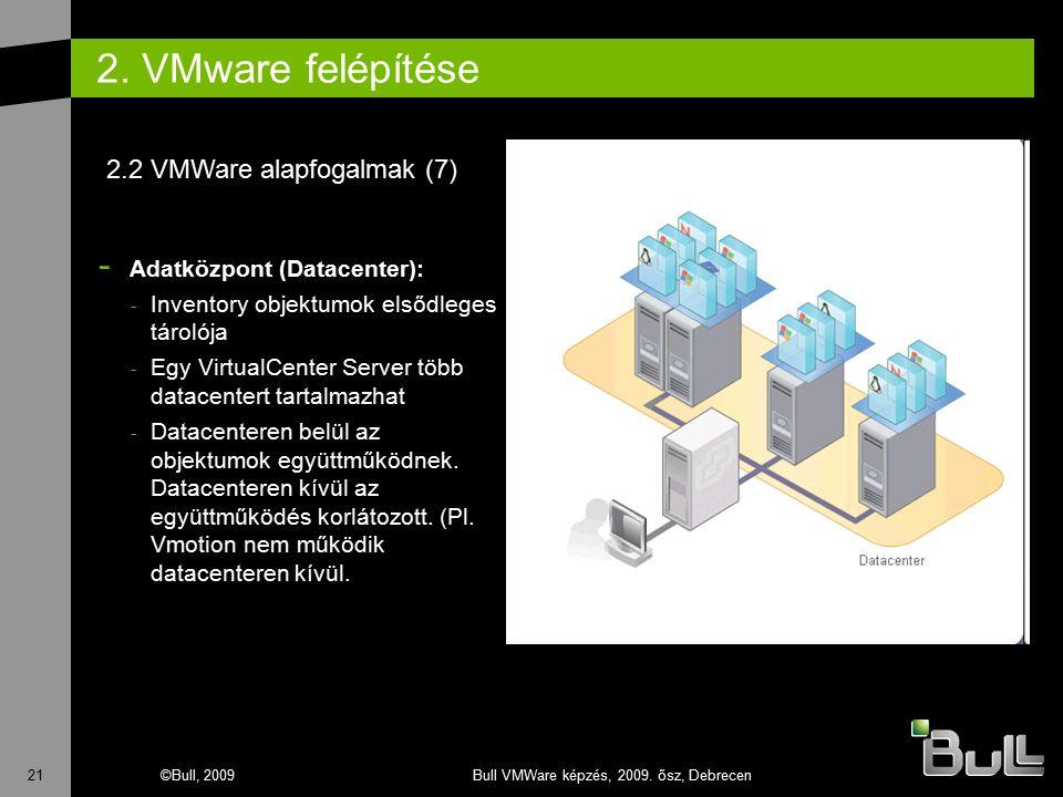 21©Bull, 2009Bull VMWare képzés, 2009. ősz, Debrecen 2. VMware felépítése - Adatközpont (Datacenter): - Inventory objektumok elsődleges tárolója - Egy