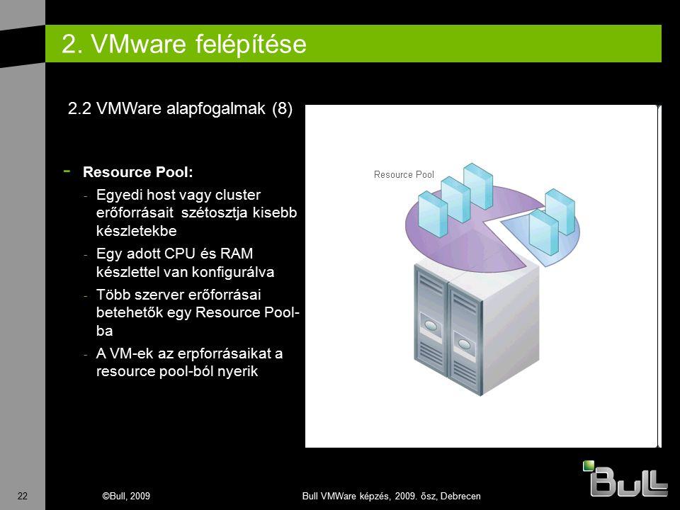 22©Bull, 2009Bull VMWare képzés, 2009. ősz, Debrecen 2. VMware felépítése - Resource Pool: - Egyedi host vagy cluster erőforrásait szétosztja kisebb k