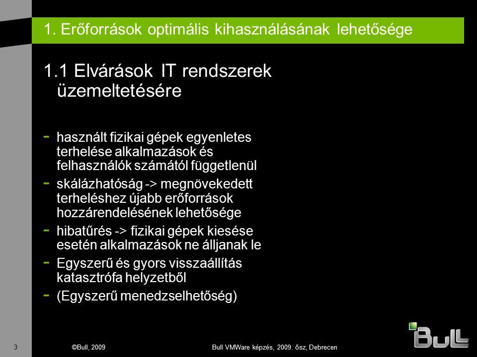 3©Bull, 2009Bull VMWare képzés, 2009. ősz, Debrecen 1. Erőforrások optimális kihasználásának lehetősége 1.1 Elvárások IT rendszerek üzemeltetésére - h