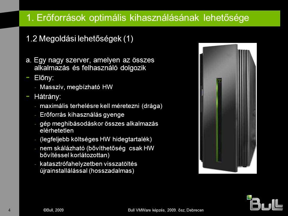 4©Bull, 2009Bull VMWare képzés, 2009. ősz, Debrecen 1. Erőforrások optimális kihasználásának lehetősége 1.2 Megoldási lehetőségek (1) a. Egy nagy szer
