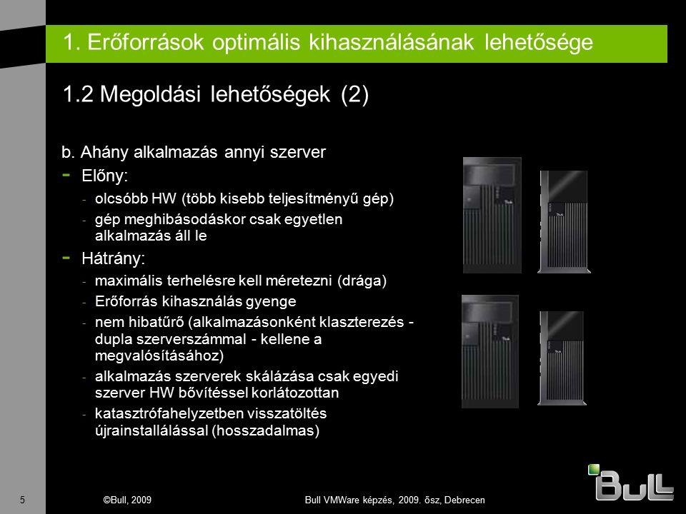 5©Bull, 2009Bull VMWare képzés, 2009. ősz, Debrecen 1. Erőforrások optimális kihasználásának lehetősége 1.2 Megoldási lehetőségek (2) b. Ahány alkalma