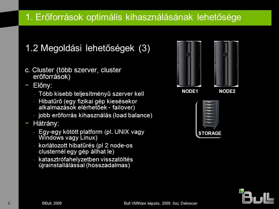 6©Bull, 2009Bull VMWare képzés, 2009. ősz, Debrecen 1. Erőforrások optimális kihasználásának lehetősége 1.2 Megoldási lehetőségek (3) c. Cluster (több