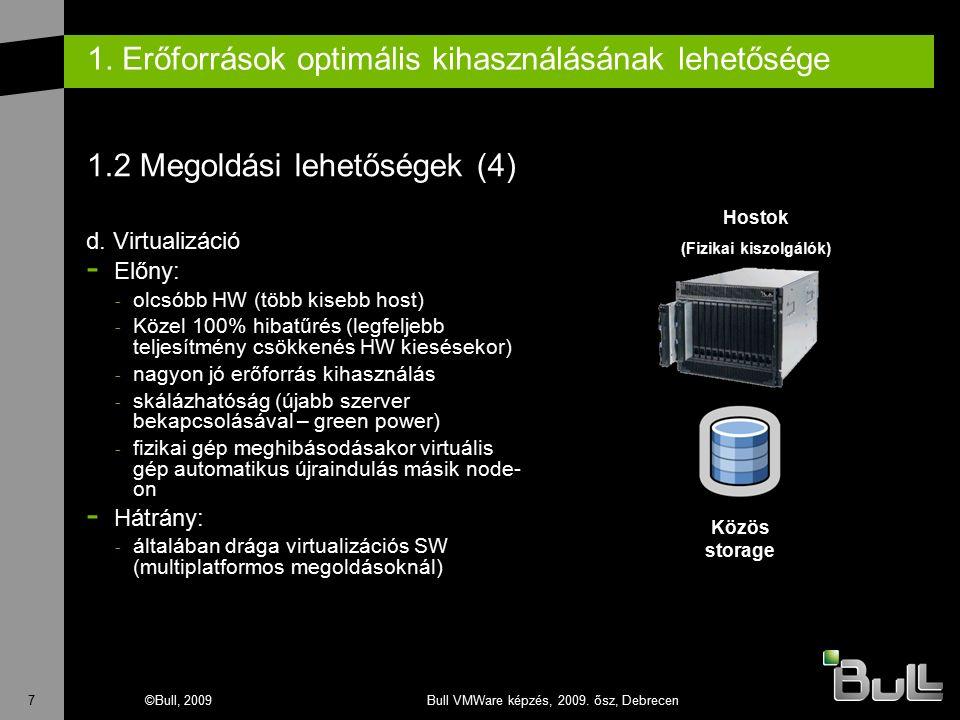 7©Bull, 2009Bull VMWare képzés, 2009. ősz, Debrecen 1. Erőforrások optimális kihasználásának lehetősége 1.2 Megoldási lehetőségek (4) d. Virtualizáció
