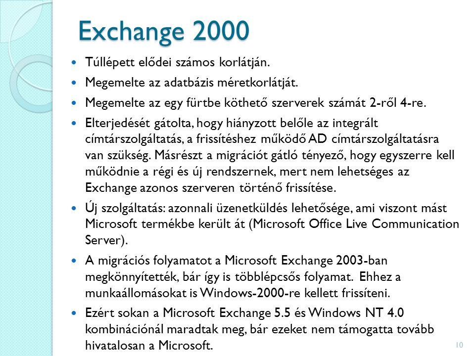 Exchange 2000 Túllépett elődei számos korlátján. Megemelte az adatbázis méretkorlátját.