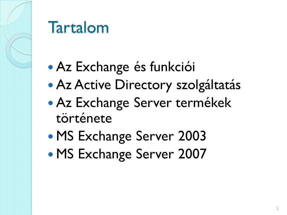 Tartalom Az Exchange és funkciói Az Active Directory szolgáltatás Az Exchange Server termékek története MS Exchange Server 2003 MS Exchange Server 2007 2