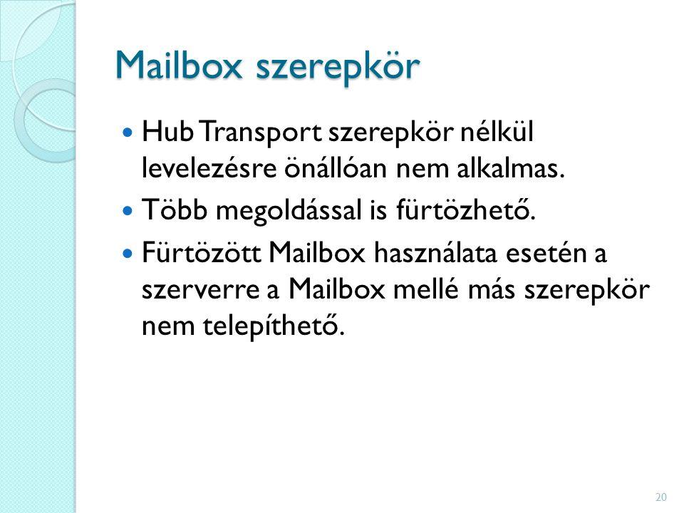 Mailbox szerepkör Hub Transport szerepkör nélkül levelezésre önállóan nem alkalmas.