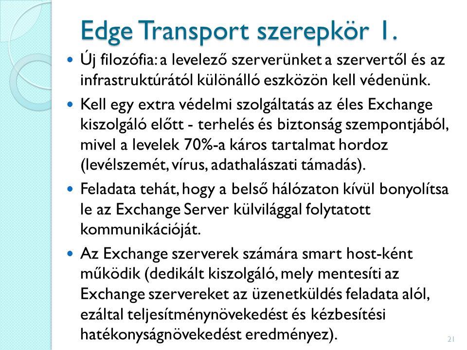 Edge Transport szerepkör 1. Új filozófia: a levelező szerverünket a szervertől és az infrastruktúrától különálló eszközön kell védenünk. Kell egy extr