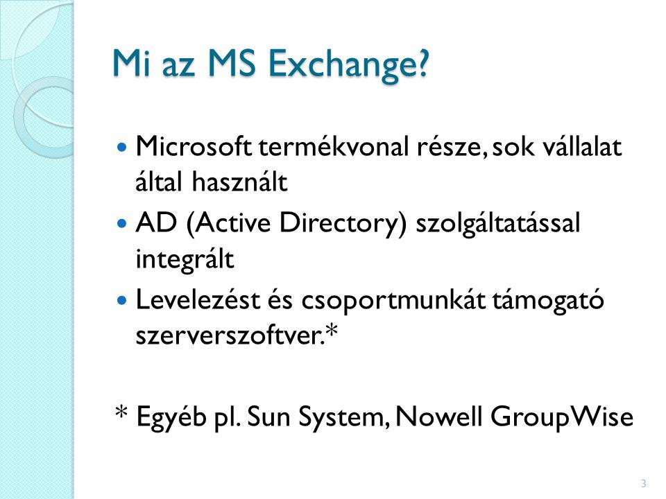 Mi az MS Exchange? Microsoft termékvonal része, sok vállalat által használt AD (Active Directory) szolgáltatással integrált Levelezést és csoportmunká