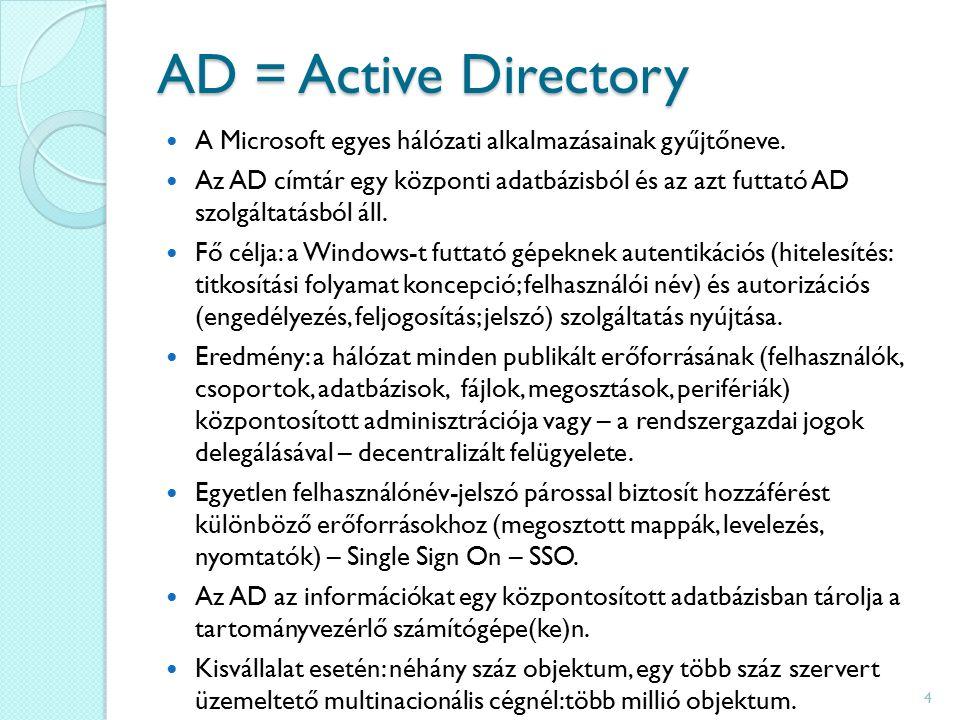 AD = Active Directory A Microsoft egyes hálózati alkalmazásainak gyűjtőneve.