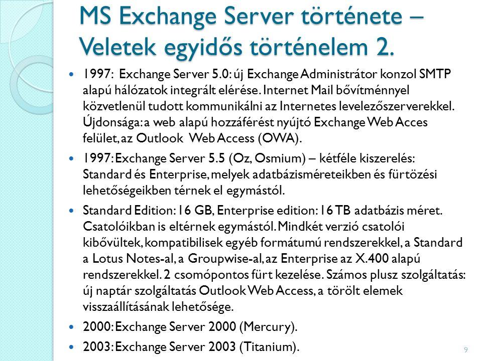 Exchange 2000 Túllépett elődei számos korlátján.Megemelte az adatbázis méretkorlátját.