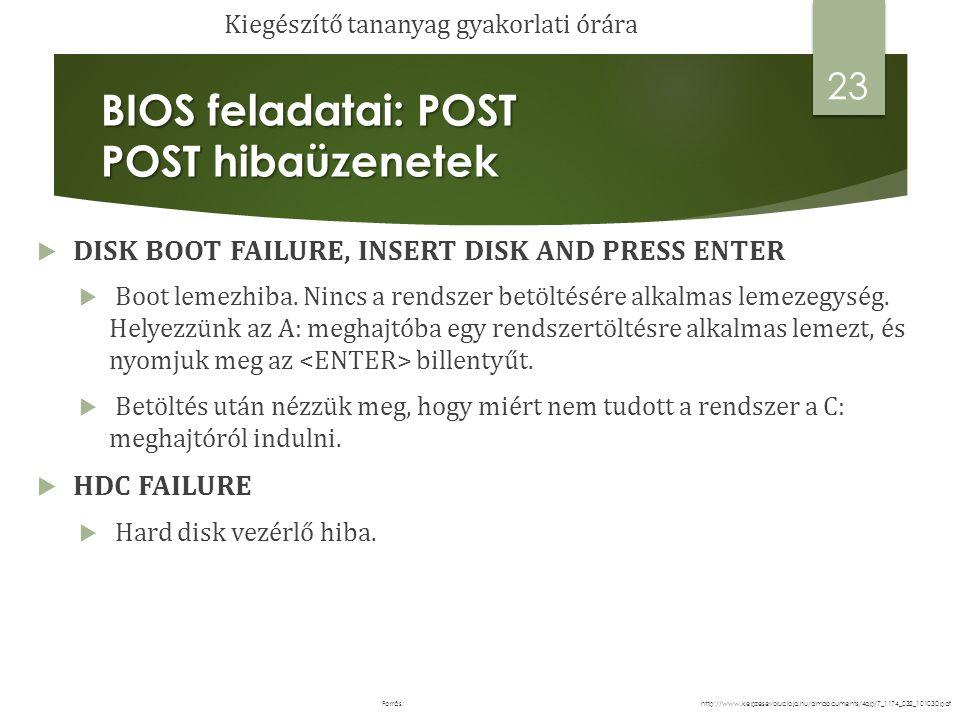 BIOS alapbeállításaink módosítása: CMOS BIOS alapbeállításaink módosítása: CMOS 24 http://www.kepzesevolucioja.hu/dmdocuments/4ap/7_1174_032_101030.pdfForrás: Kiegészítő tananyag gyakorlati órára