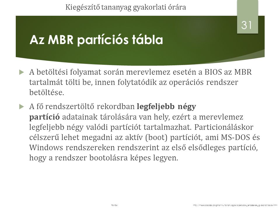 Az MBR partíciós tábla  Az első boot szektor ( a szektorméret 512 byte), azaz az MBR egy kis programot tartalmaz, amelynek a feladata az aktuális operációs rendszer beolvasása és elindítása.