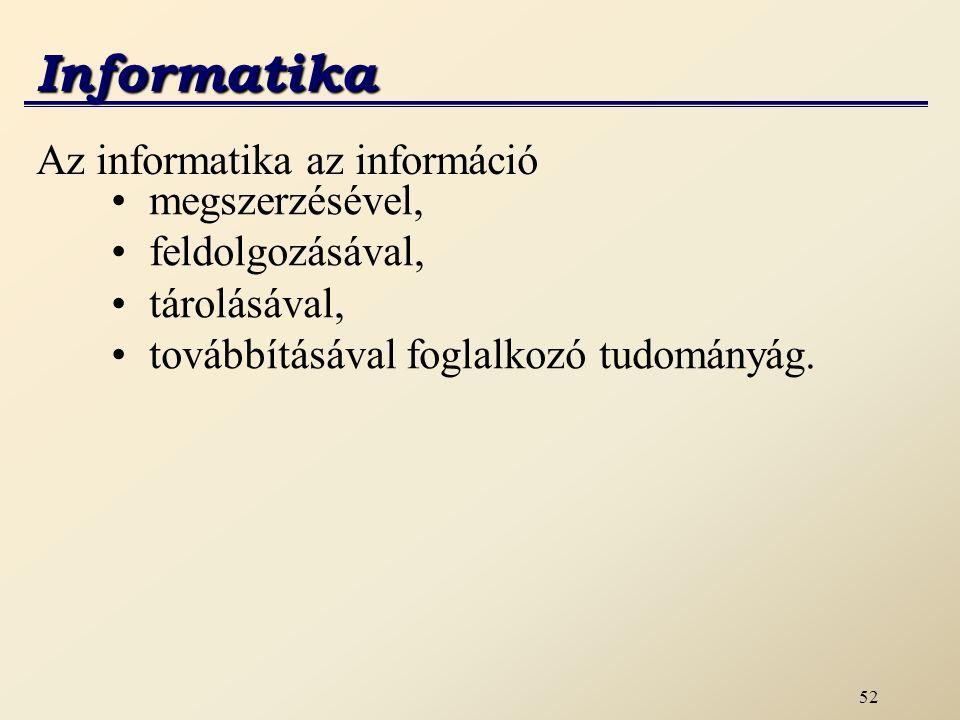 53 Informatika Információhoz kommunikáció során juthatunk.