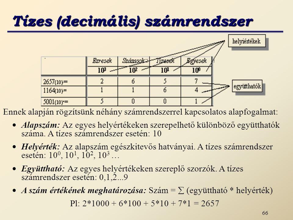 67 A számítógépben egy bináris helyértéket bitnek nevezünk, melynek állapota ‑ a bináris számrendszer együtthatói alapján ‑ 0 vagy 1 lehet.