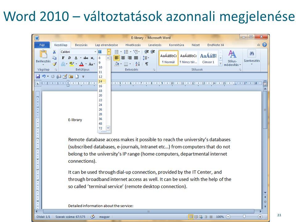 Word 2010 – változtatások azonnali megjelenése 21
