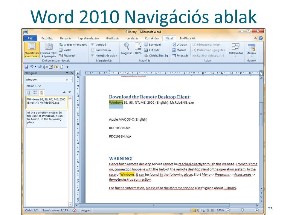 Word 2010 Navigációs ablak 22