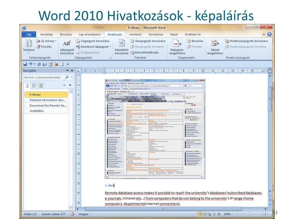 Word 2010 Hivatkozások - képaláírás 23
