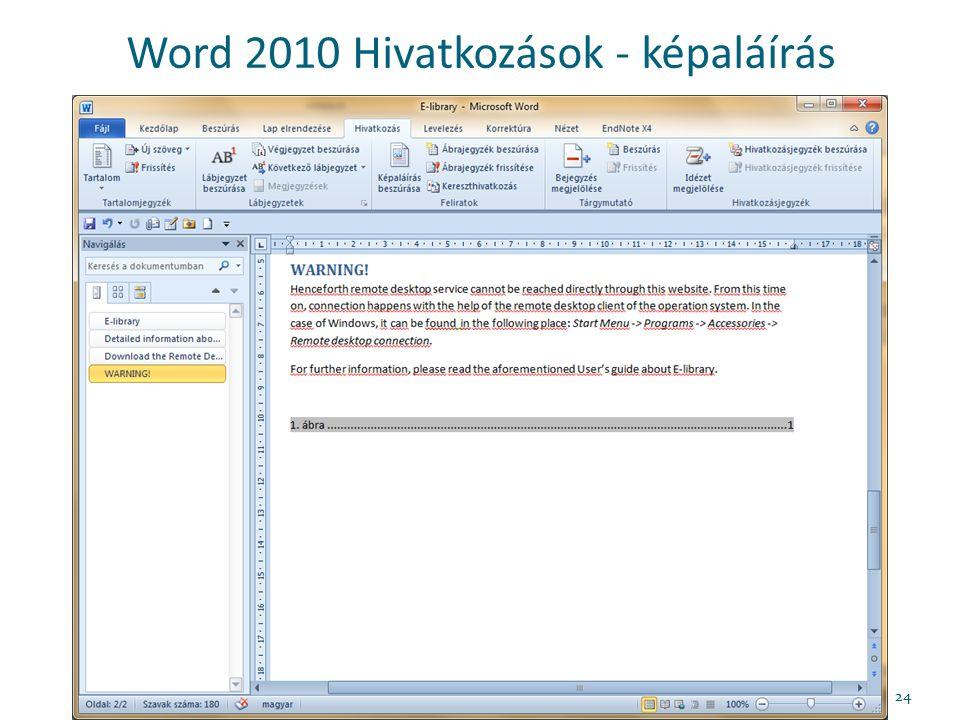 Word 2010 Hivatkozások - képaláírás 24