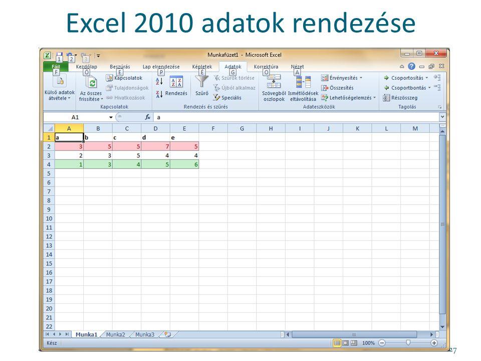 Excel 2010 adatok rendezése 27