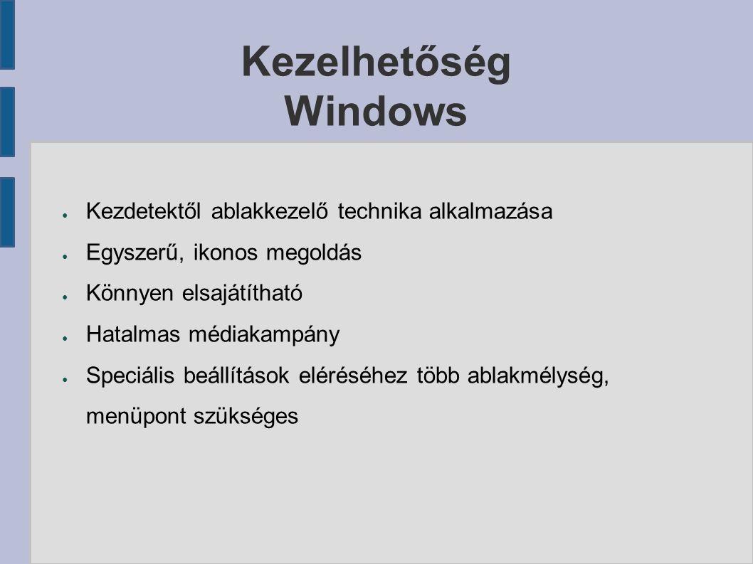 Kezelhetőség Windows ● Kezdetektől ablakkezelő technika alkalmazása ● Egyszerű, ikonos megoldás ● Könnyen elsajátítható ● Hatalmas médiakampány ● Speciális beállítások eléréséhez több ablakmélység, menüpont szükséges